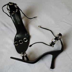 Black and silver rhinestone heels